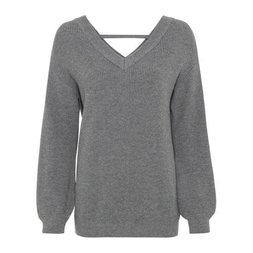 bonprix Pullover mit tiefem V-Ausschnitt grau
