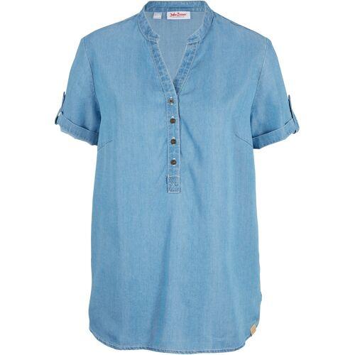 bonprix Jeansbluse aus TENCEL™ Lyocell, Kurzarm blau