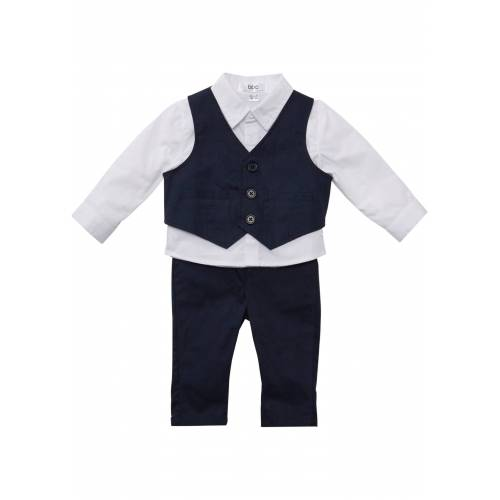 bonprix Baby Hemd + Weste + Hose (3-tlg. Set) weiß