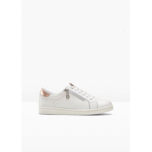 bonprix bequemer Sneaker aus Leder weiß