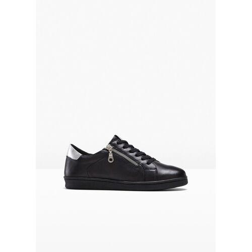 bonprix bequemer Sneaker aus Leder schwarz