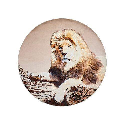 bonprix Runder Teppich mit großem Löwenmotiv braun