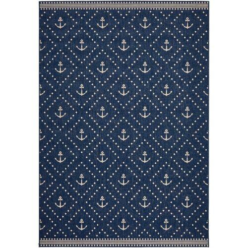 bonprix In- und Outdoor Teppich mit Anker Motiv blau