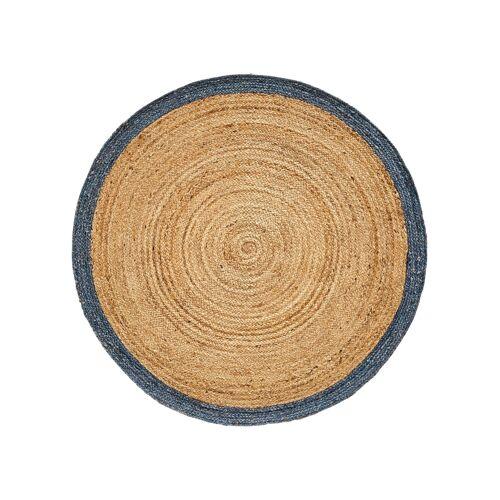 bonprix Runder Teppich mit bedrucktem Rand blau