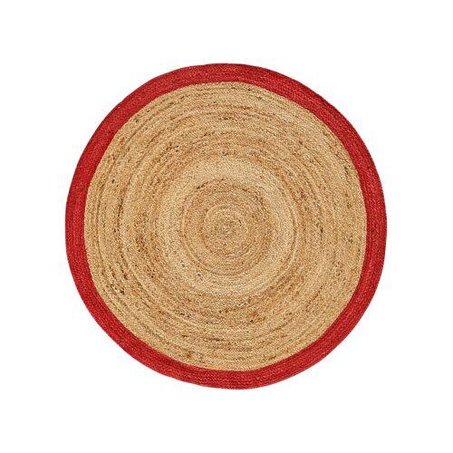 bonprix Runder Teppich mit bedrucktem Rand rot