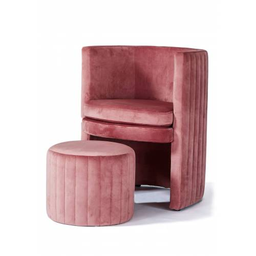 bonprix Sessel mit Hocker (2-tlg.Set) rosa
