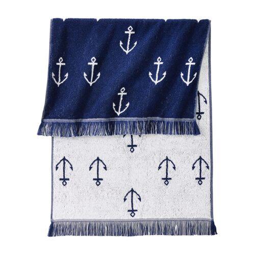 bonprix Handtuch mit Anker Muster blau