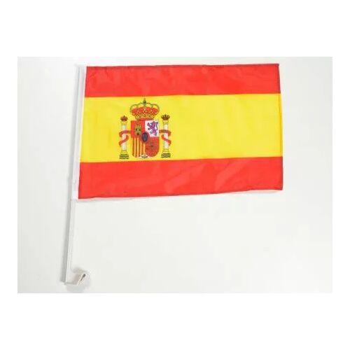 FK-Automotive Autofahne Autoflagge Spanien Fahne mit Halterung für Seitenfenster 30x45cm