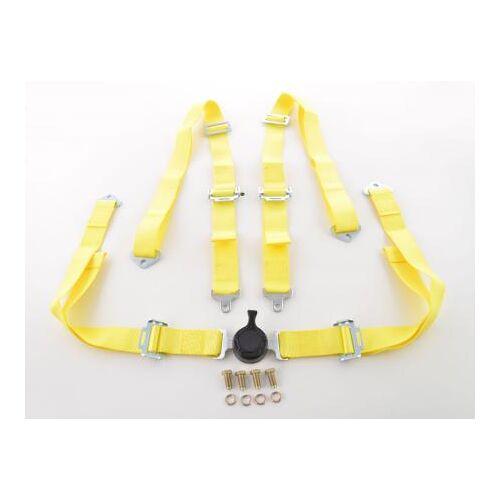FK-Automotive Hosenträgergurt 4-Punkt Gurt Renngurt universal gelb