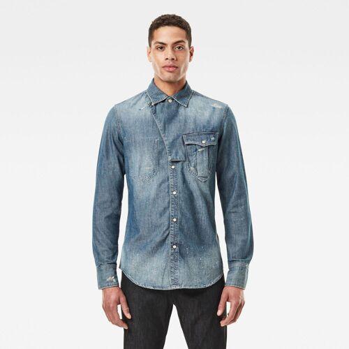 G-Star RAW Herren E Western Tab Slim Hemd Blau