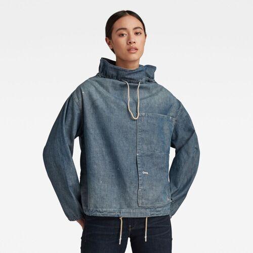 G-Star RAW Damen Long Sleeve Mock Neck Hemd Blau