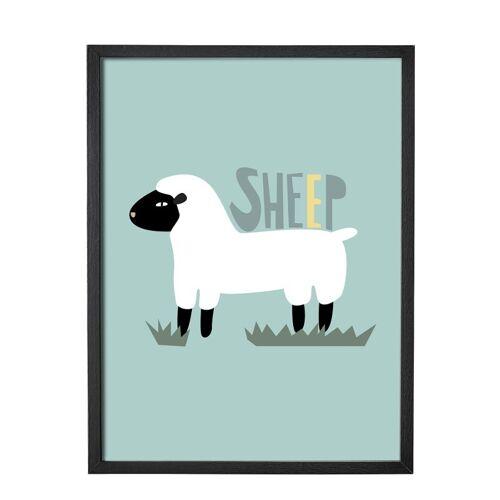 Bloomingville Wandbild Schaf mit Rahmen