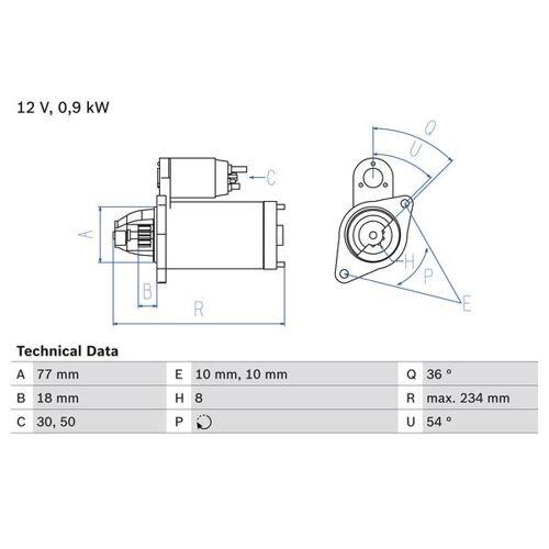 STARION (A18_A) Starter Bosch 0 986 012 301 STARION (A18_A)