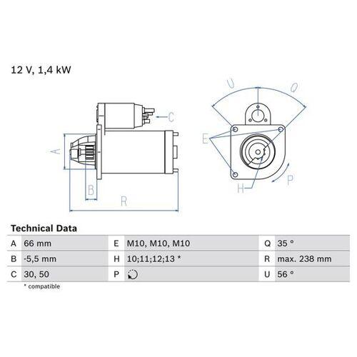 OUTLANDER II (CW_W) Starter Bosch 0 986 018 310 OUTLANDER II (CW_W)