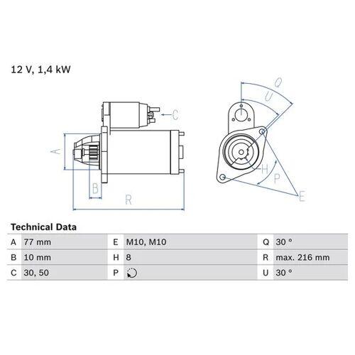 OUTLANDER I (CU_W) Starter Bosch 0 986 020 411 OUTLANDER I (CU_W)