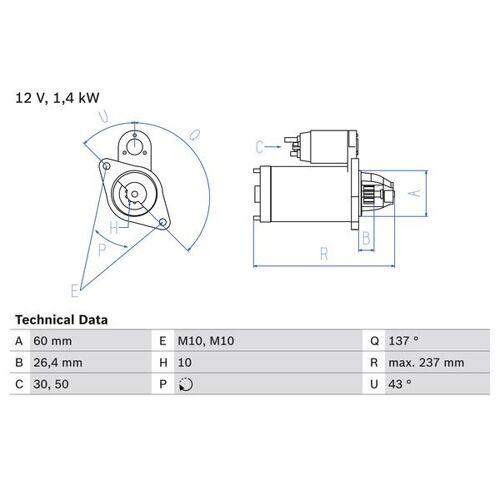VIANO (W639) Starter Bosch 0 986 021 280 VIANO (W639)