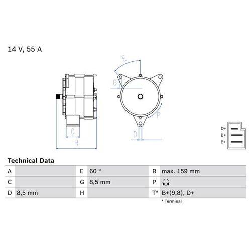 T2/L Kommunalfahrzeug Generator Bosch 0 986 031 020 T2/L Kommunalfahrzeug