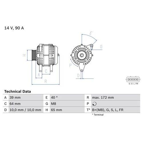 L 200 / TRITON (KA_T, KB_T) Generator Bosch 0 986 083 630 L 200 / TRITON (KA_T, KB_T)