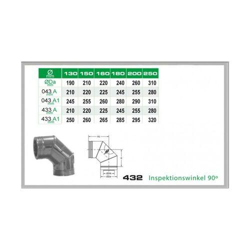 Winkel 90° mit Reinigungsöffnung für Schornsteinsets 130mm DW6