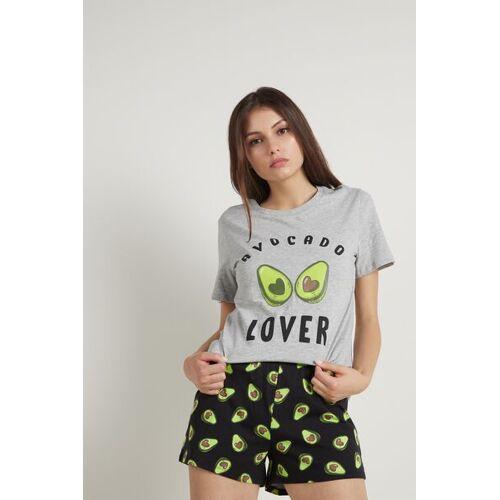 Tezenis Kurzer Pyjama mit Avocado-Print Frau Grau Größe L