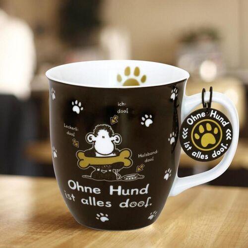 Sheepworld AG Sheepworld 45704 Tasse mit Motivdruck Ohne Hund ist alles doof. mit Geschenktag