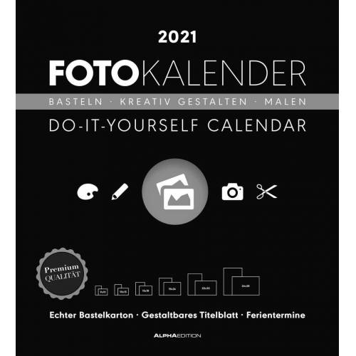 Alpha Foto-Bastelkalender schwarz XL 2021