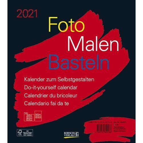 Korsch Foto-Malen-Basteln Bastelkalender schwarz 2021