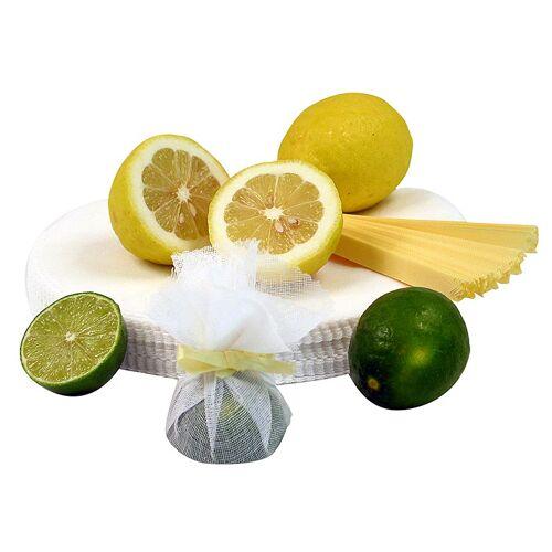 The Original Lemon Wraps - Zitronenserviertuch, weiß, mit gelber Krawatte, 100 St