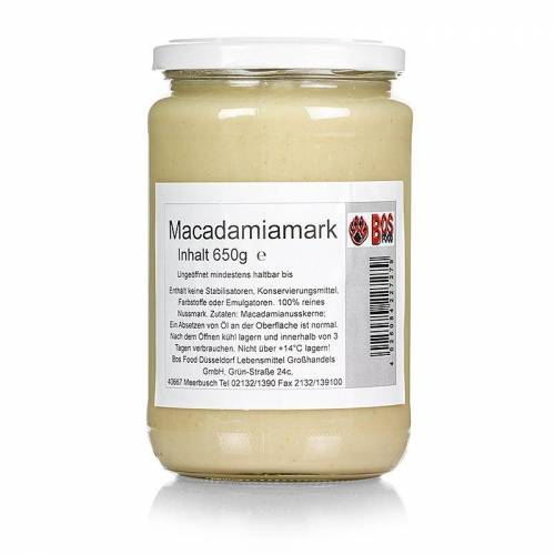 BOS FOOD Macadamia-Mark, 100% Mark ohne Zusatzstoffe, 650 g
