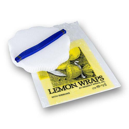The Original Lemon Wraps - Zitronenserviertuch, weiß, mit blauer Krawatte, 100 St