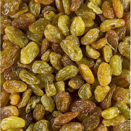 Weinbeeren Jumbo, grün/gelb, geschwefelt, Chile (ähnl. Sultaninen), 1 kg