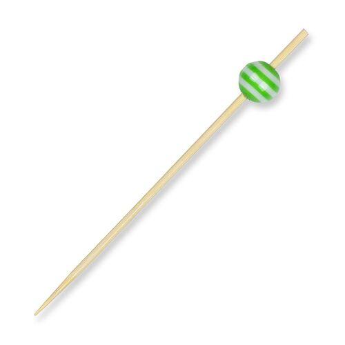 Holz-Spieße, mit Kristallkugel grün/weiß gestreift, 9cm, 100 St