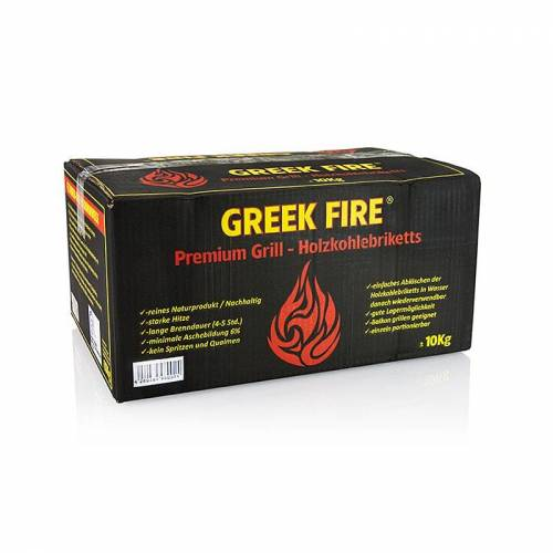 Grill BBQ - Holzkohle Briketts, Greek Fire, 10 kg