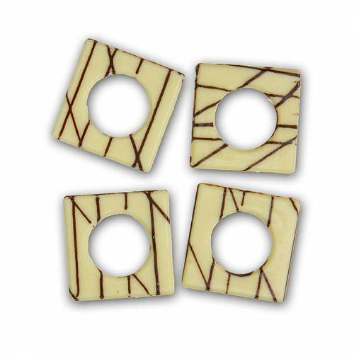 Deko-Aufleger Eureka, weiß, Viereckig mit Loch, 529 g, 148 St