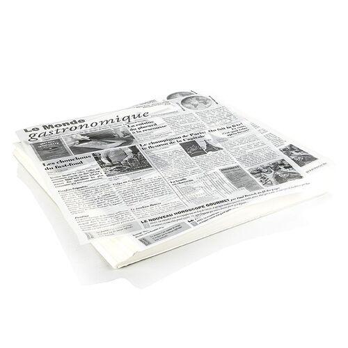 Einweg Snack Papier mit Zeitungspapierdruck, ca.290x300mm, le monde gastro, 500 Blatt
