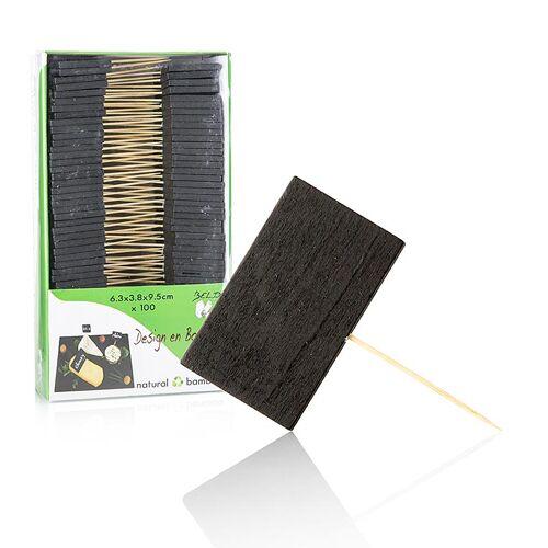 Holz-Spieße, mit Schiefertafel, 6,3x3,8cm, 100 St