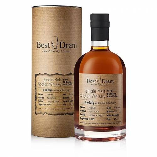 Single Malt Whisky Ledaig 2008-2020 Best Dram PX Sherry Cask Mull, 56,4% vol., 700 ml