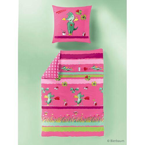 Bierbaum Renforcé Kinderbettwäsche Tabaluga GA2412, Pink 135 x 200 cm