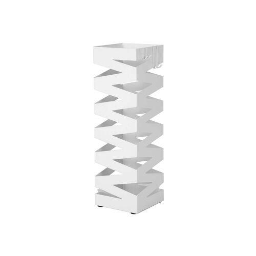 SONGMICS Schirmständer Quadratisch Weiß