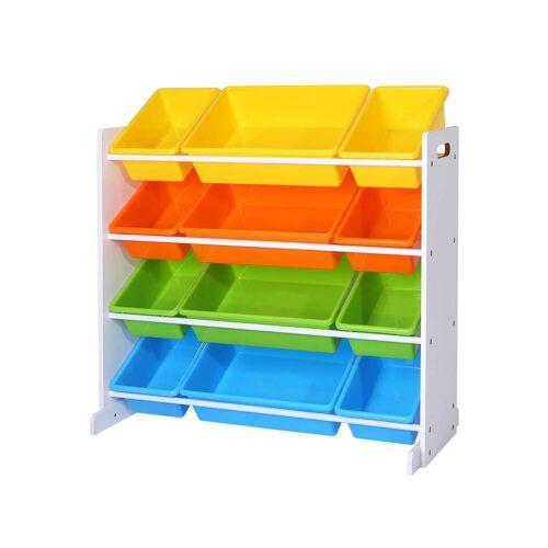SONGMICS Kinderregal, Kinderzimmerregal, Spielzeugregal, Spielzeugaufbewahrung für Kinder, Aufbewahrungsregal für Spielzeug, Ordnungsregal mit Aufbewahrungsboxen, mehrfarbig GKR04W