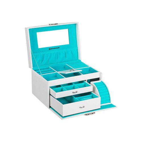 SONGMICS Schmuckkasten Schmuckkoffer Schmuckkästchen abschließbar mit Spiegel Schublade, Weiß, JBC211W, 26 x 19 x 18 cm