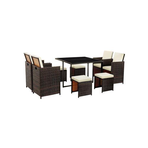 SONGMICS Gartenmöbel Set aus Polyrattan braun-beige