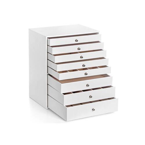 SONGMICS Schmuckkasten 8 Schubladen Weiß
