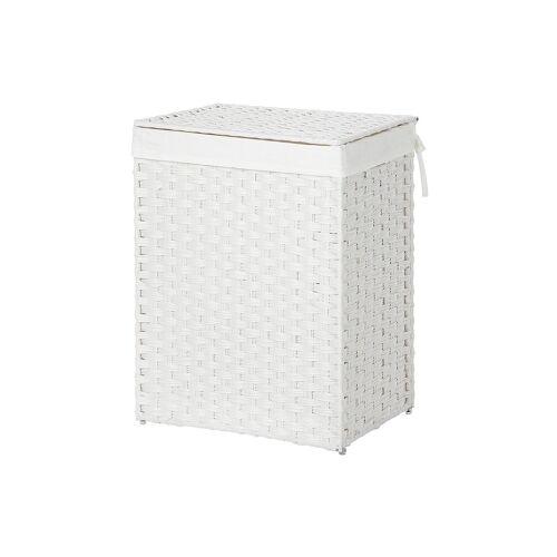SONGMICS Wäschekorb aus Polyrattan Weiß