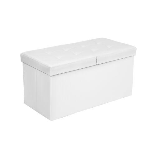 SONGMICS Klappdeckel-Sitzbank 76 cm Weiß