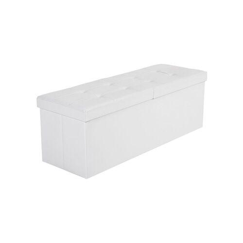 SONGMICS Klappdeckel-Sitzbank 110 cm Weiß