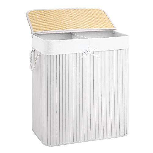 SONGMICS Wäschekorb 100 L Bambus Weiß