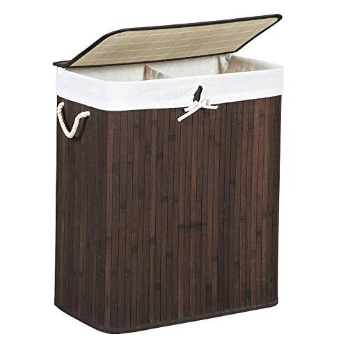 SONGMICS Wäschekorb 100 L Bambus Braun