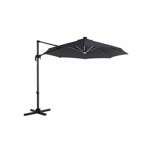 SONGMICS Sonnenschirm mit LED-Beleuchtung grau