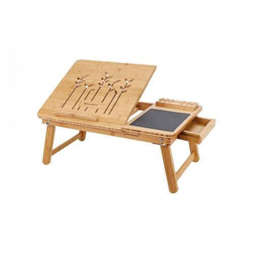 SONGMICS Hochklappbarer Laptoptisch Bambus